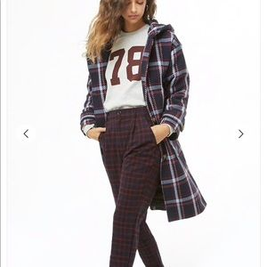 Plaid Hooded Trenchcoat